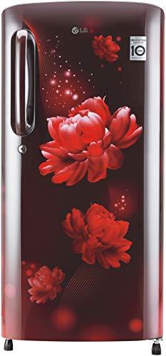 LG 190 L 4 Star Inverter Direct-Cool Single Door Refrigerator (GL-B201ASCY, Scarlet Charm)