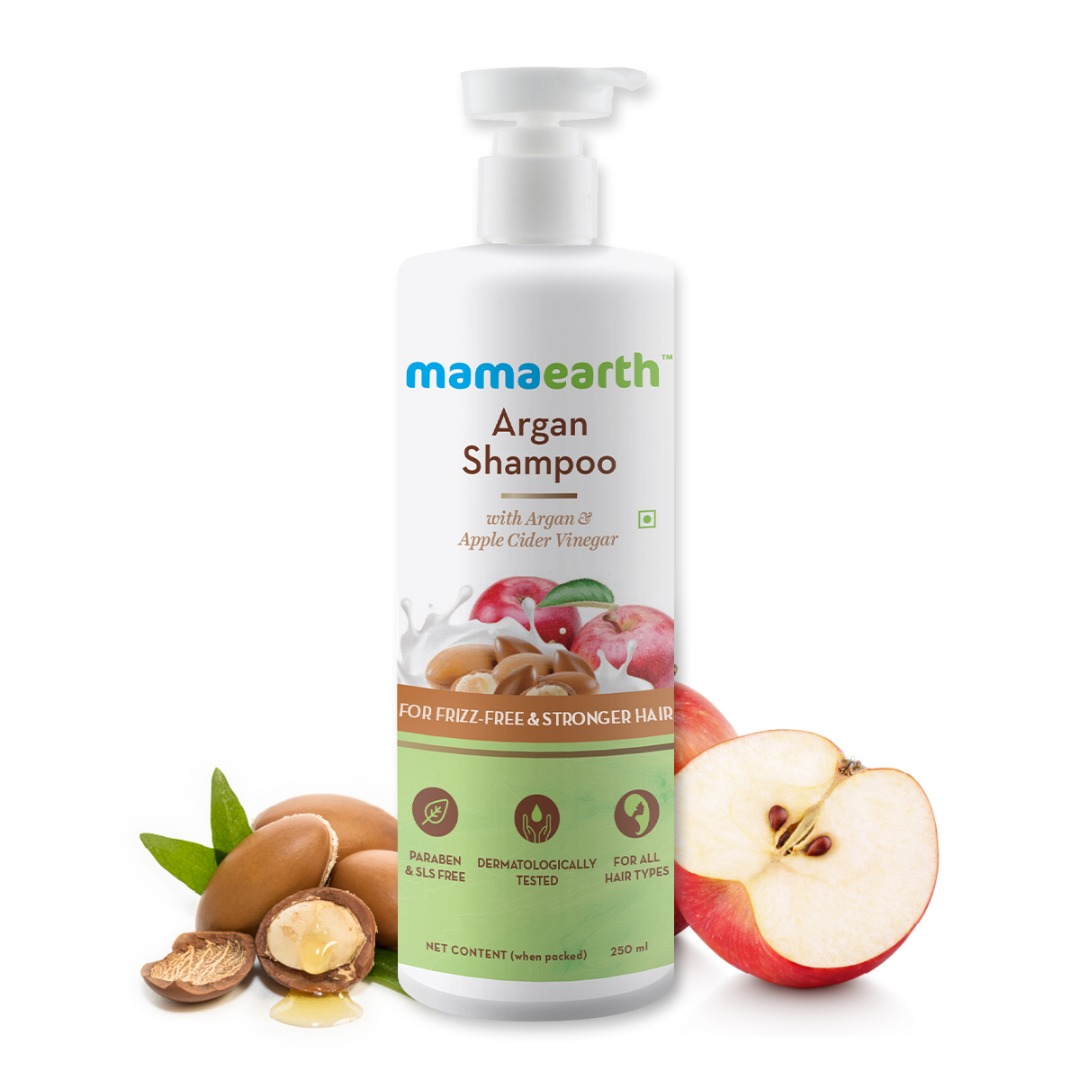 MamaEarth Argan Shampoo with Argan & Apple Cider Vinegar for Frizz-Free & Stronger Hair