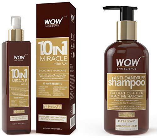 Wow Anti-Dandruff Regime (10 In 1 Miracle Hair Oil + Anti Dandruff Shampoo)