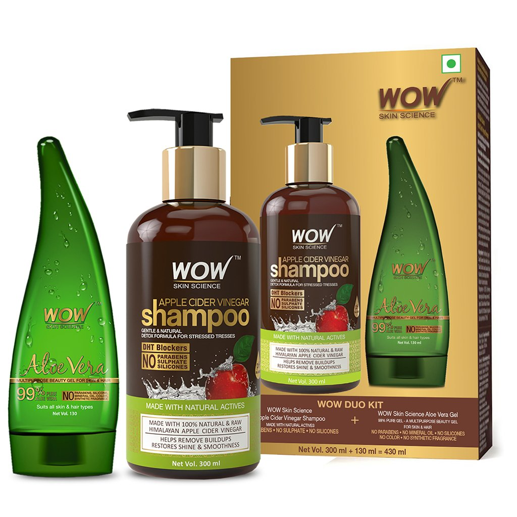 Wow Apple Cider Vinegar Shampoo, 300ml with 99% Pure Aloe Vera Gel