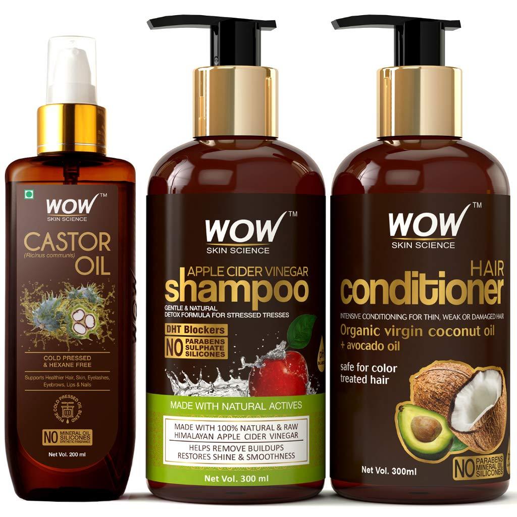 Wow Complete Hair Strengthening Kit (Castor Oil + Apple Cider Vinegar Shampoo + Hair Conditioner)