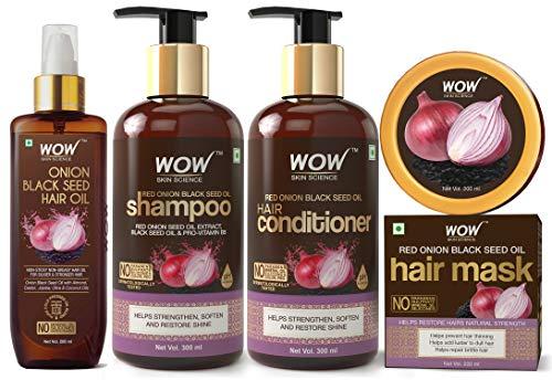 Wow Onion Black Seed Oil Hair Care Ultimate 4 Kit (Shampoo + Hair Conditioner + Hair Oil + Hair Mask)