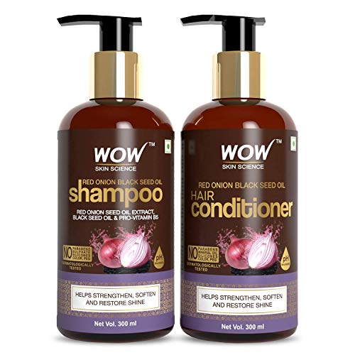 Wow Red Onion Black Seed Oil Shampoo & Conditioner Kit with Red Onion Seed Oil Extract, Black Seed Oil & Pro-Vitamin B5 (Shampoo + Conditioner)