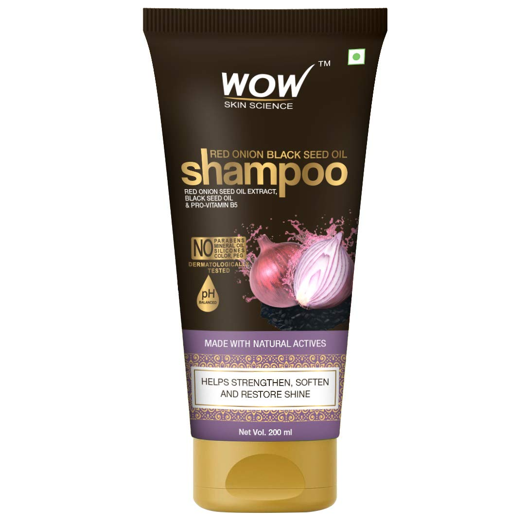 Wow Red Onion Black Seed Oil Shampoo with Red Onion Seed Oil Extract, Black Seed Oil & Pro-Vitamin B5