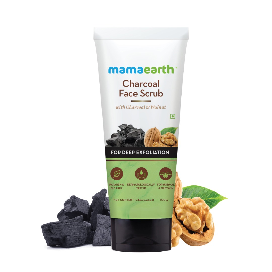 MamaEarth Charcoal Face Scrub for Oily Skin & Normal Skin, with Charcoal & Walnut