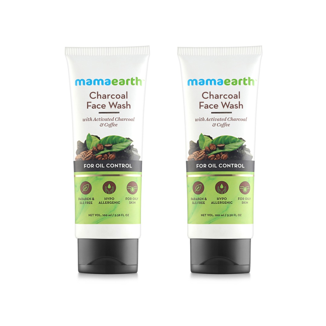 MamaEarth Charcoal Facewash for Oil Control, Pack of 2