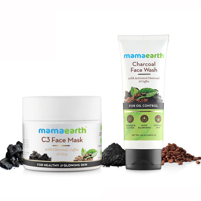 MamaEarth Charcoal Secrets : C3 Face Mask 100ml + Charcoal Facewash 100ml