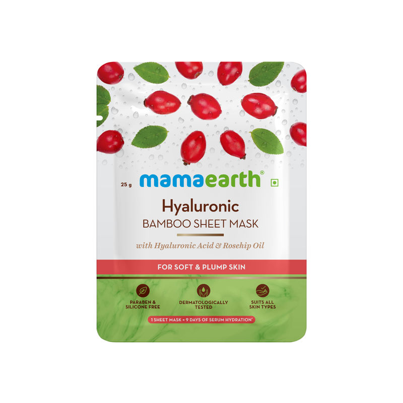 MamaEarth Hyaluronic Bamboo Sheet Mask with Rosehip Oil for Soft & Plump Skin