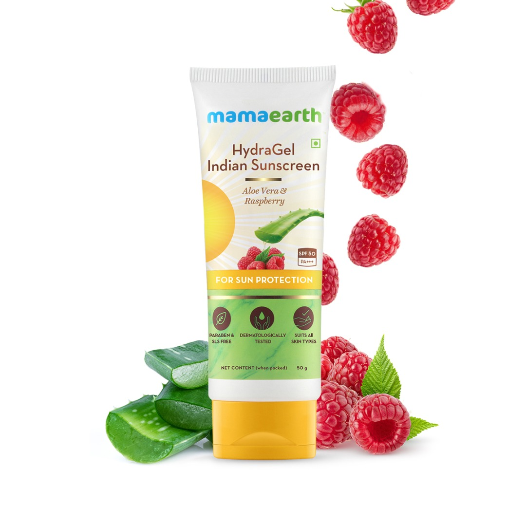 MamaEarth Hydragel Indian Sunscreen with Aloe Vera & Raspberry for Sun Protection