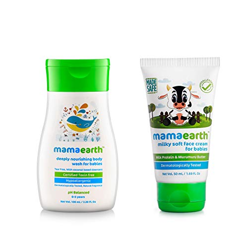 MamaEarth Milky Soft Face Cream 60ml + Deeply Nourishing Body Wash