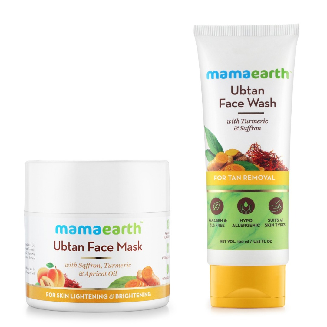 MamaEarth Skin Lightening & Brightening Combo : Ubtan Facemask, 100ml + Ubtan Facewash
