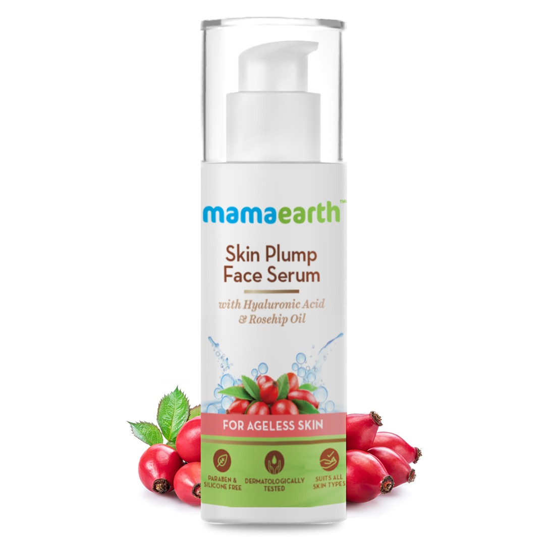 MamaEarth Skin Plump Serum for Face Glow, with Hyaluronic Acid & Rosehip Oil