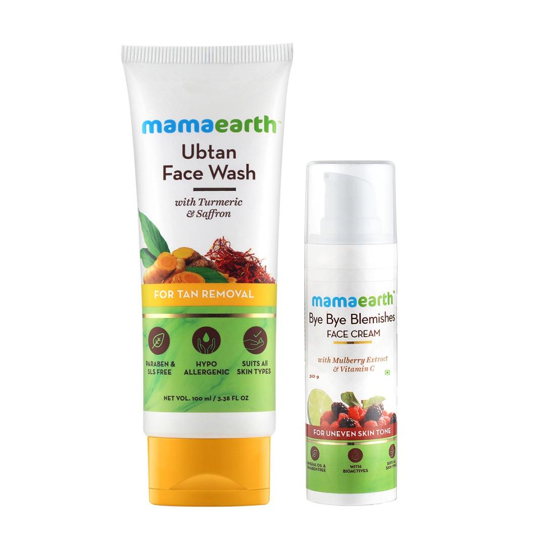 MamaEarth Spotless Skin Combo: Ubtan Facewash + Bye Bye Blemishes Face Cream