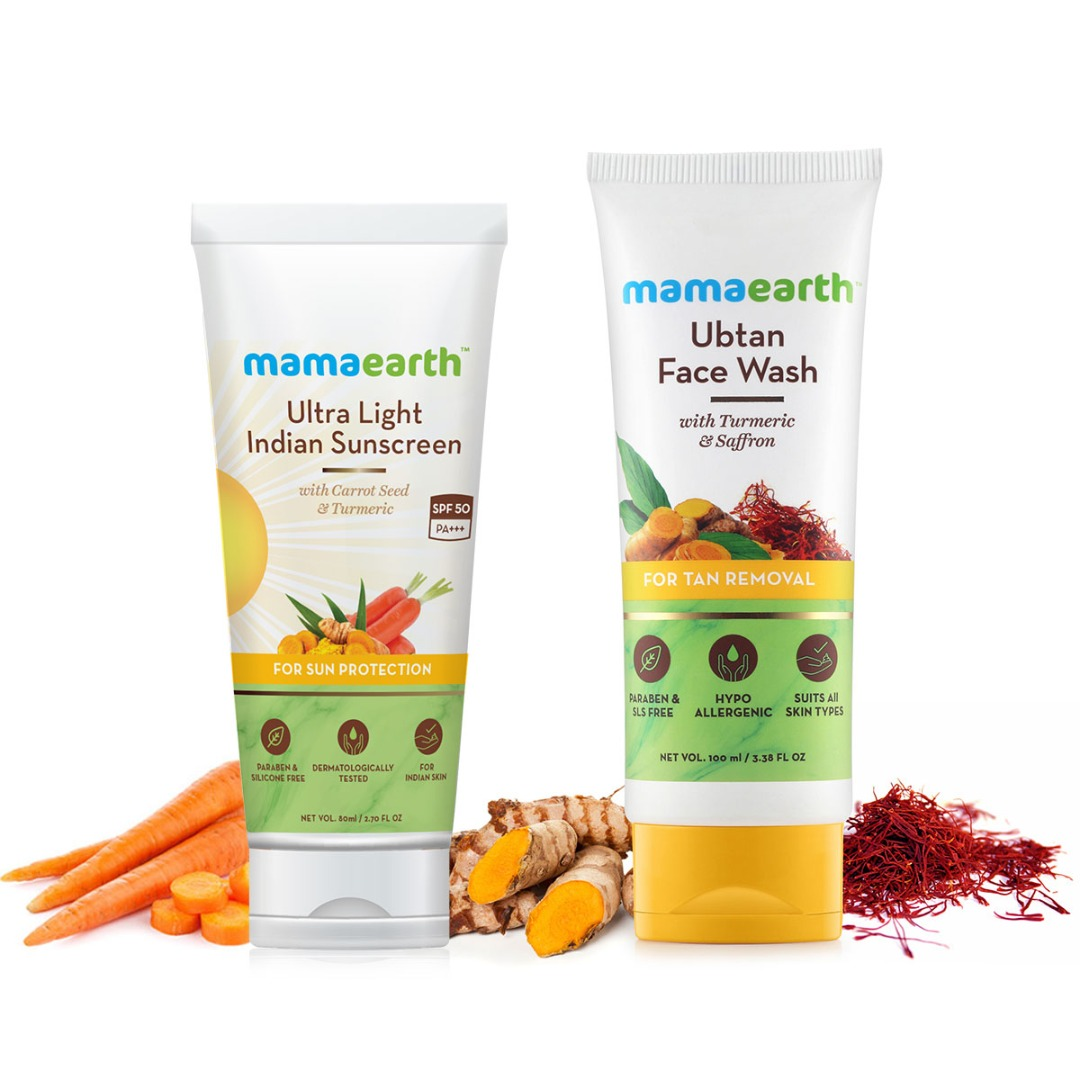 MamaEarth Sun Protection Combo : Sunscreen, 80ml + Ubtan Facewash