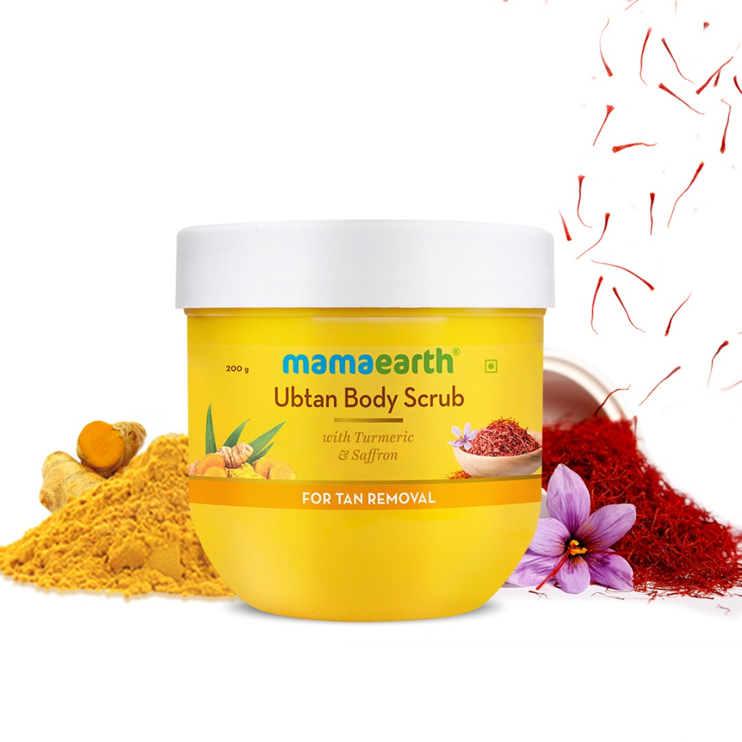 MamaEarth Ubtan Body Scrub with Turmeric & Saffron for Tan Removal