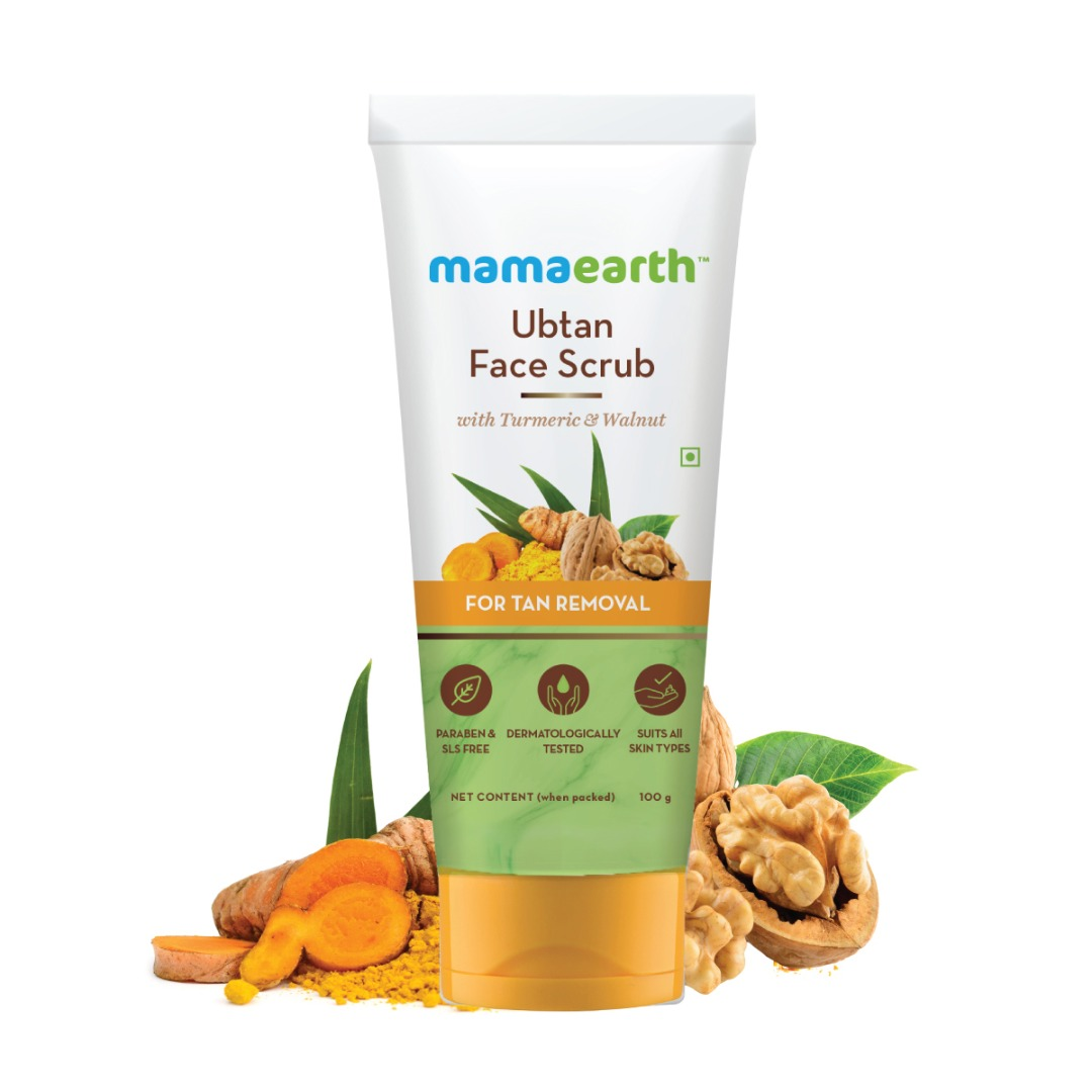 MamaEarth Ubtan Face Scrub with Turmeric & Walnut for Tan Removal