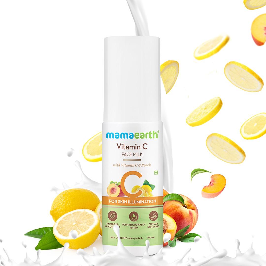 MamaEarth Vitamin C Face Milk with Vitamin C & Peach for Skin Illumination