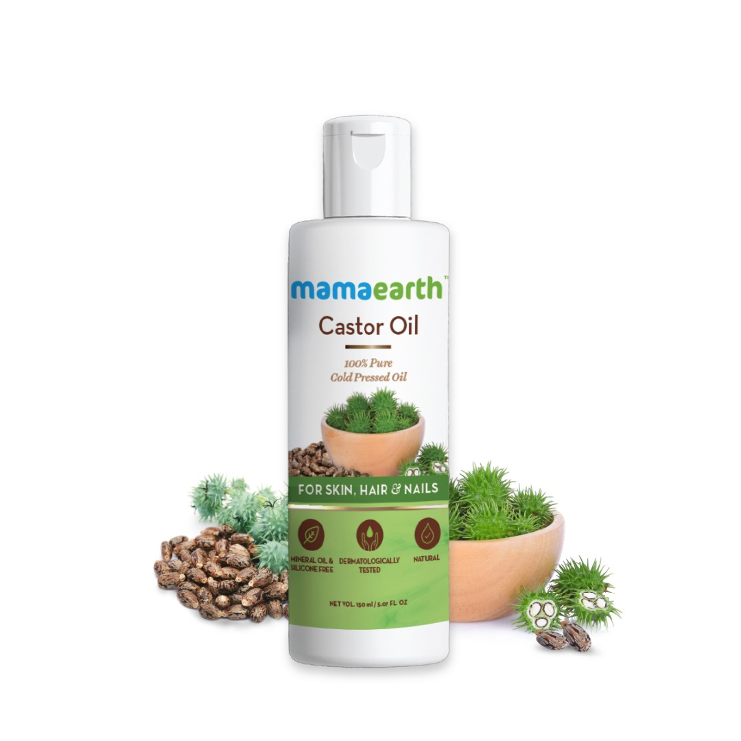 MamaEarth Castor Oil for Healthier Skin, Hair & Nails with 100% Pure & Natural Cold-Pressed Oil