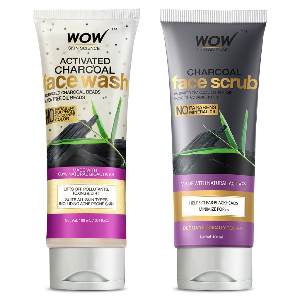Wow Activated Charcoal Skin Refining Kit, Face Scrub + Face Wash