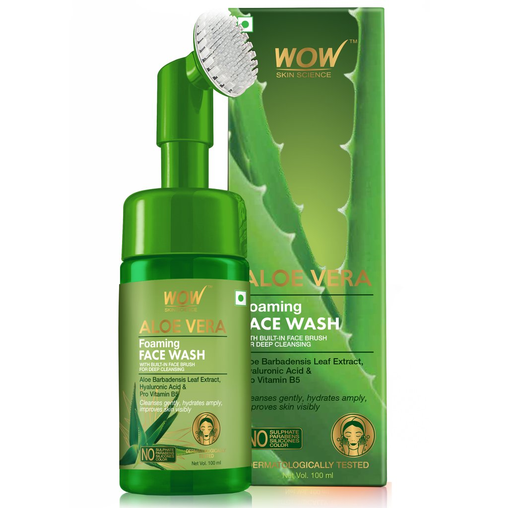 Wow Aloe Vera Foaming Face Wash with Built-In Face Brush