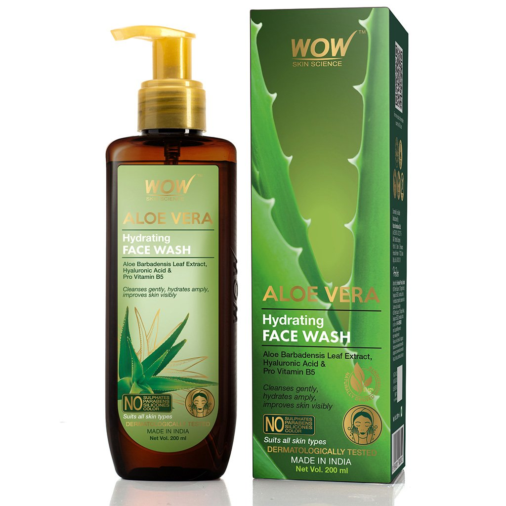 Wow Aloe Vera Hydrating Gentle Face Wash, with Aloe Leaf Extract, Hyaluronic Acid & Pro Vitamin B5