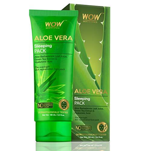 Wow Aloe Vera with Green Tea Extract & Hyaluronic Acid Sleeping Pack