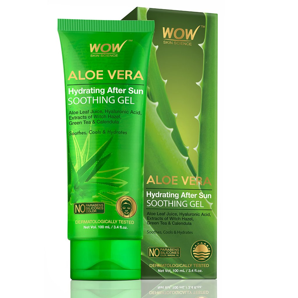 Wow Aloe Vera with Hyaluronic Acid, Witch Hazel Extract, Green Tea & Calendula Hydrating After Sun Soothing Gel