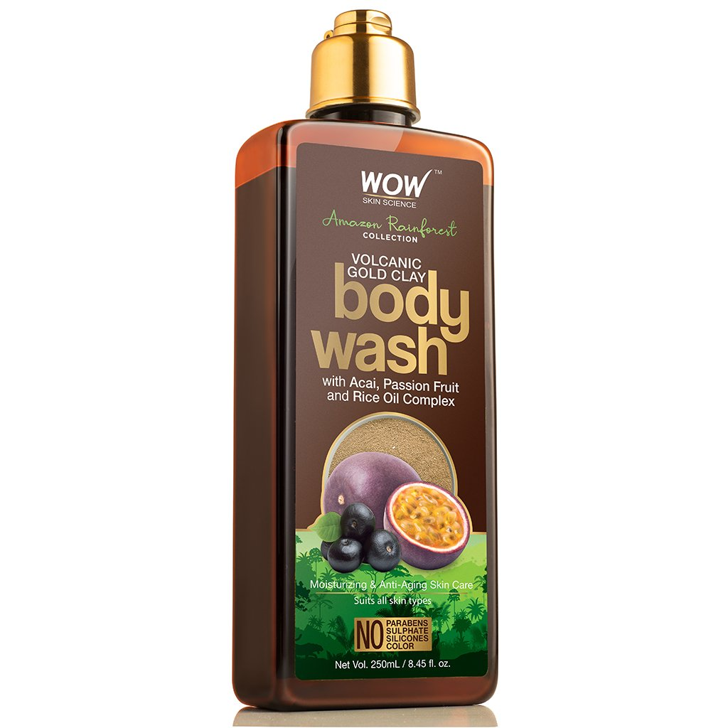 Wow Amazon Rainforest Collection, Volcanic Gold Clay Shower Gel with Acai, Passion Fruit & Rice Oil Complex