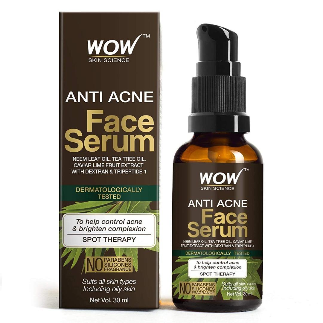 Wow Anti Acne Face Serum - Natural Neem Leaf Oil, Tea Tree Oil, Caviar Lime Fruit Extract