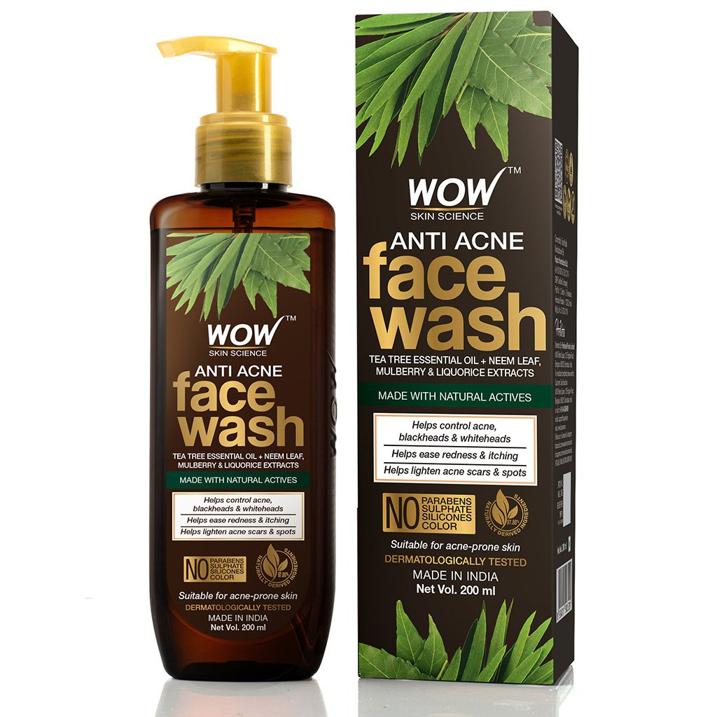 Wow Anti Acne Face Wash, with Tea Tree Essential Oil, Neem Leaf Extracts