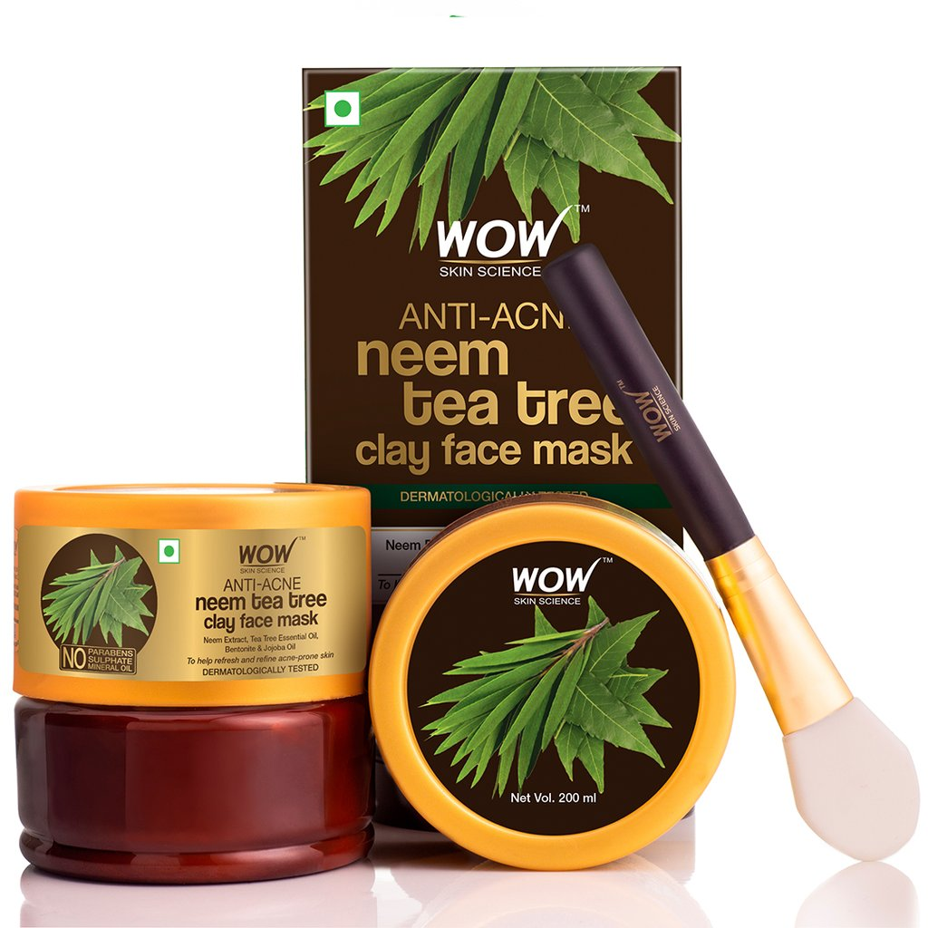 Wow Anti-Acne Neem & Tea Tree Clay Face Mask for Refreshing & Refining Acne Prone Skin