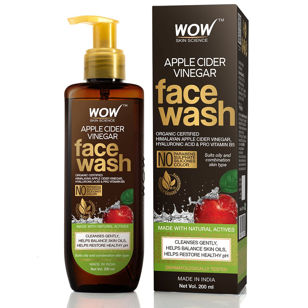 Wow Apple Cider Vinegar Face Wash, with Organic Certified Himalayan Apple Cider Vinegar