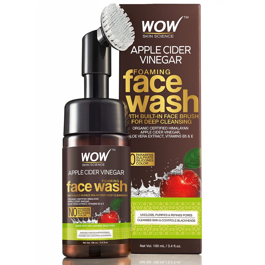 Wow Apple Cider Vinegar Foaming Face Wash, No Parabens, Sulphate & Silicones (with Built-In Brush)