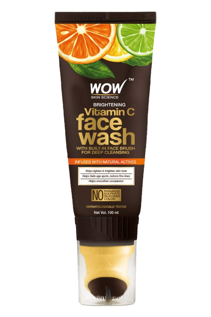 Wow Brightening Vitamin C Foaming Face Wash Gel with Built-In Face Brush for Deep Cleansing, Tube