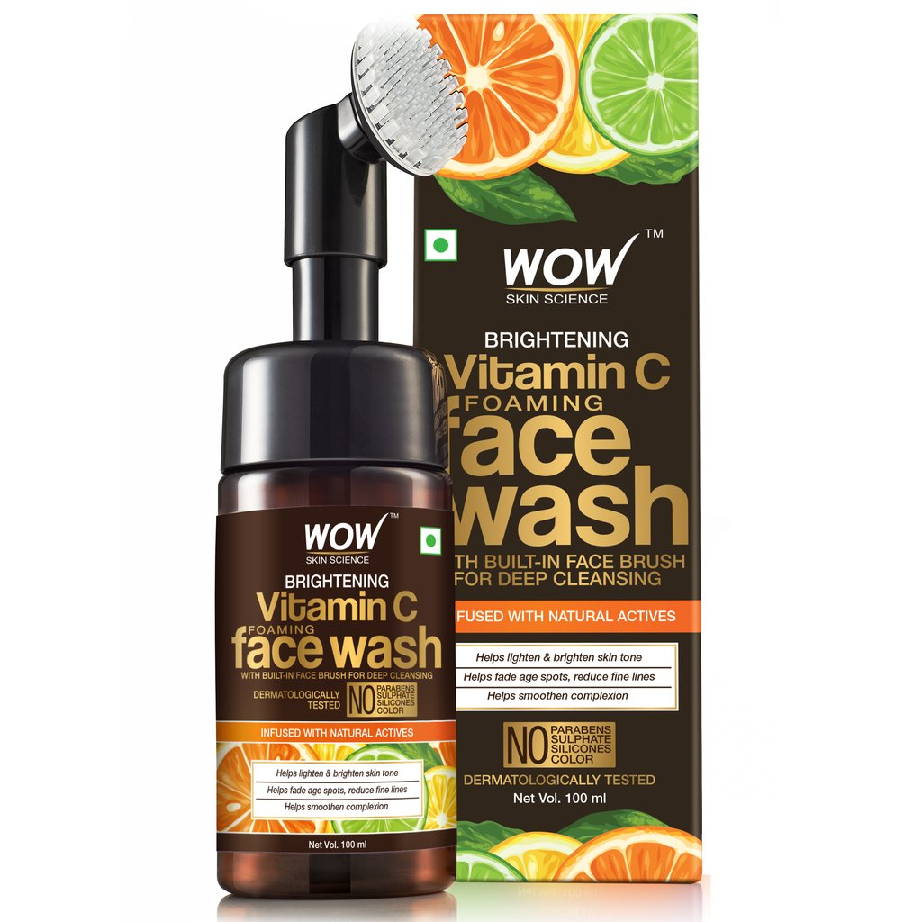 Wow Brightening Vitamin C Foaming Face Wash with Built-In Face Brush for Deep Cleansing