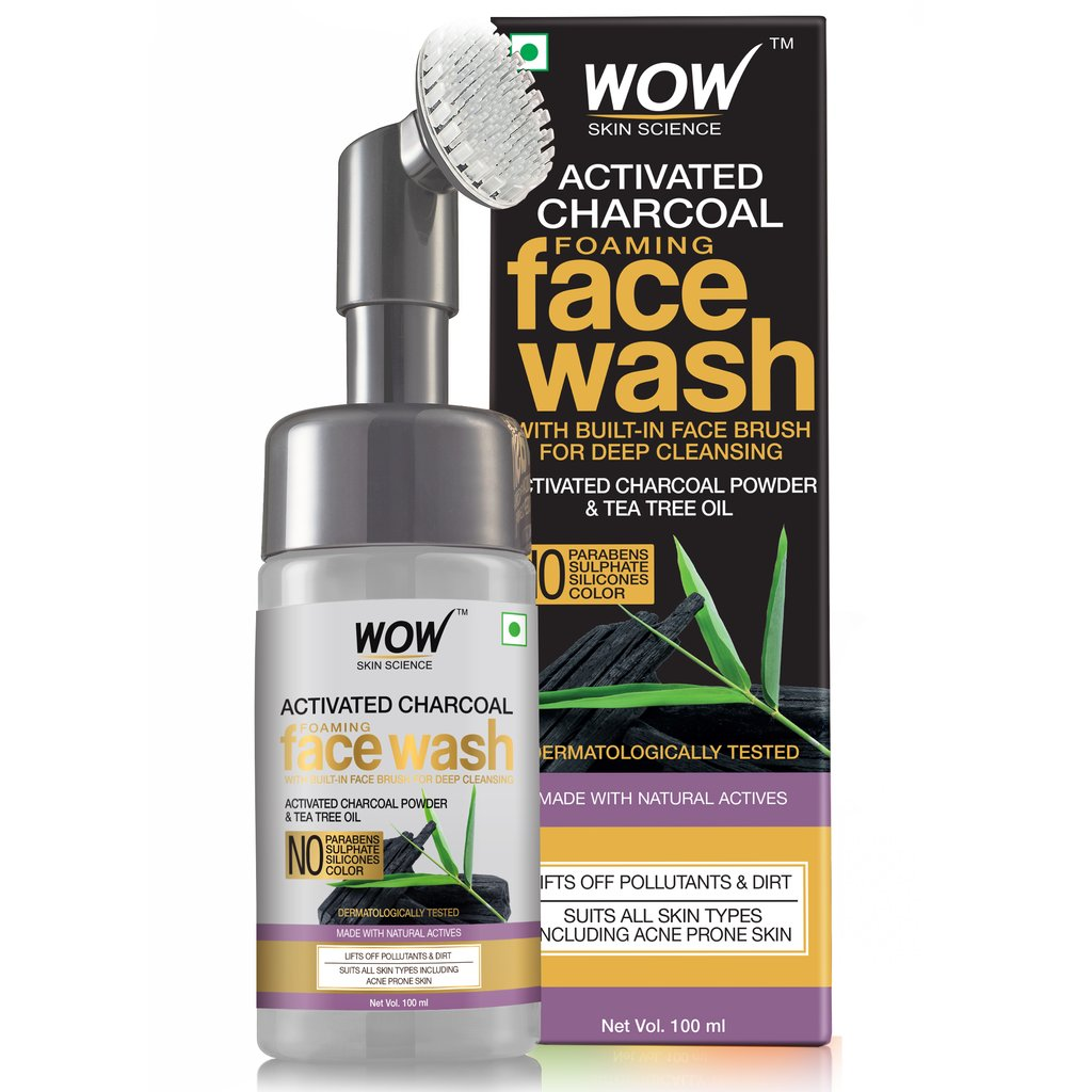 Wow Charcoal Foaming Face Wash with Built-In Face Brush