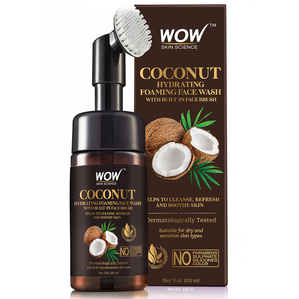 Wow Coconut Hydrating Foaming Face Wash with Built-In Face Brush, with Coconut Water