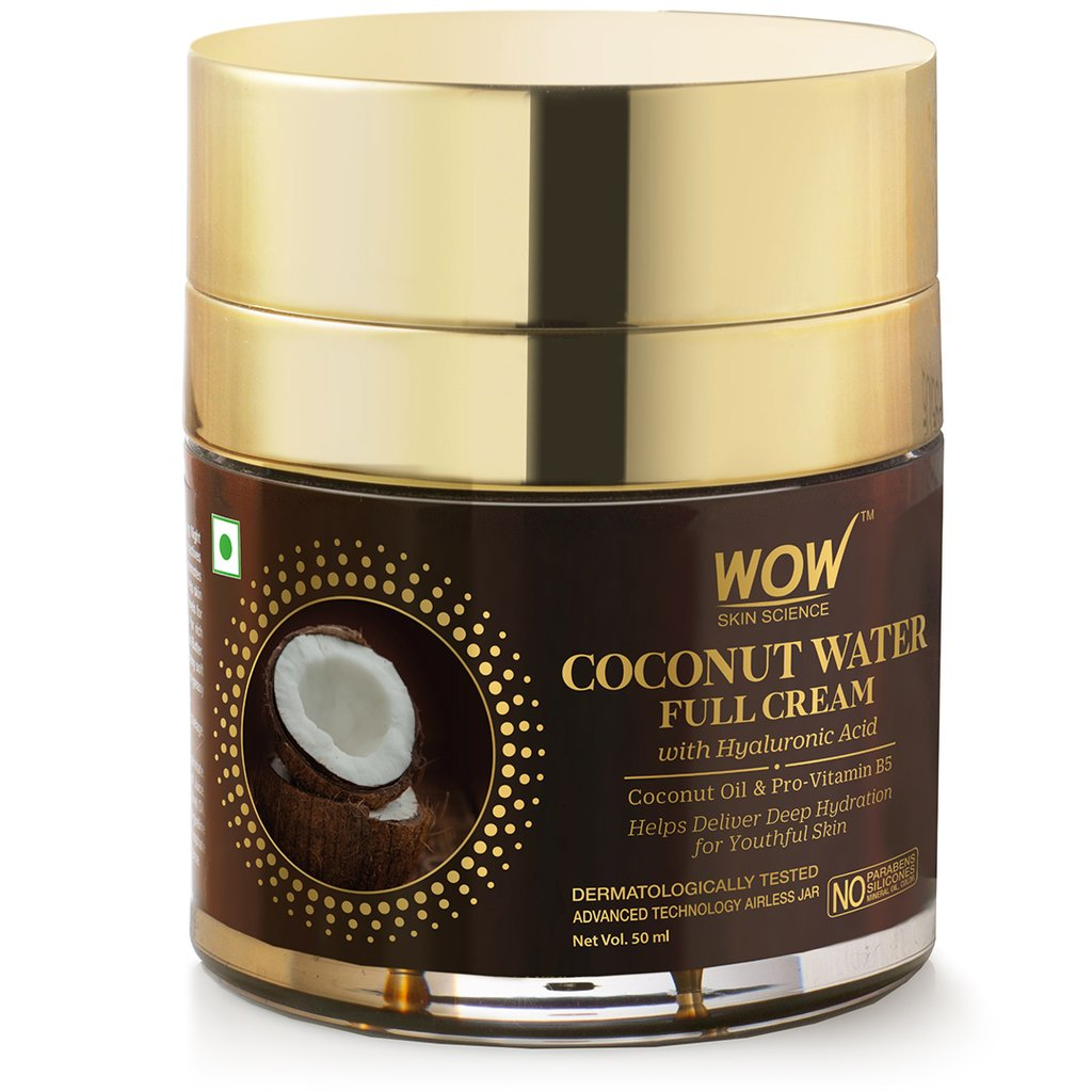 Wow Coconut Water Full Cream with Hyaluronic Acid for Deep Hydration & Youthful Skin
