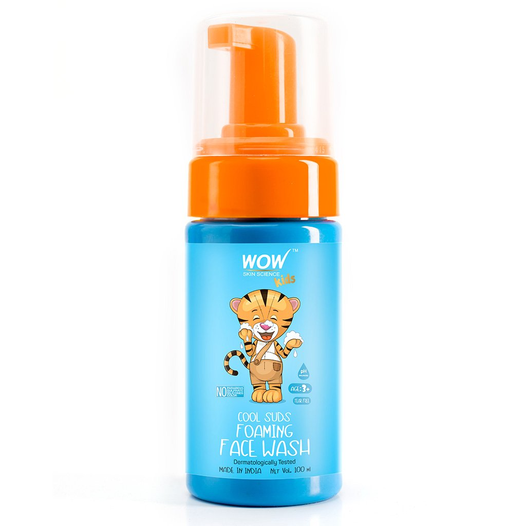 Wow Cool Suds Foaming Face Wash with Aloe Barbadensis Leaf & Calendula Flower Extract, Tear Free