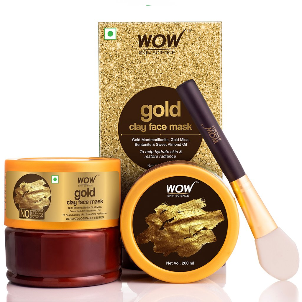 Wow Gold Clay Face Mask for Hydrating Skin & Restoring Radiance