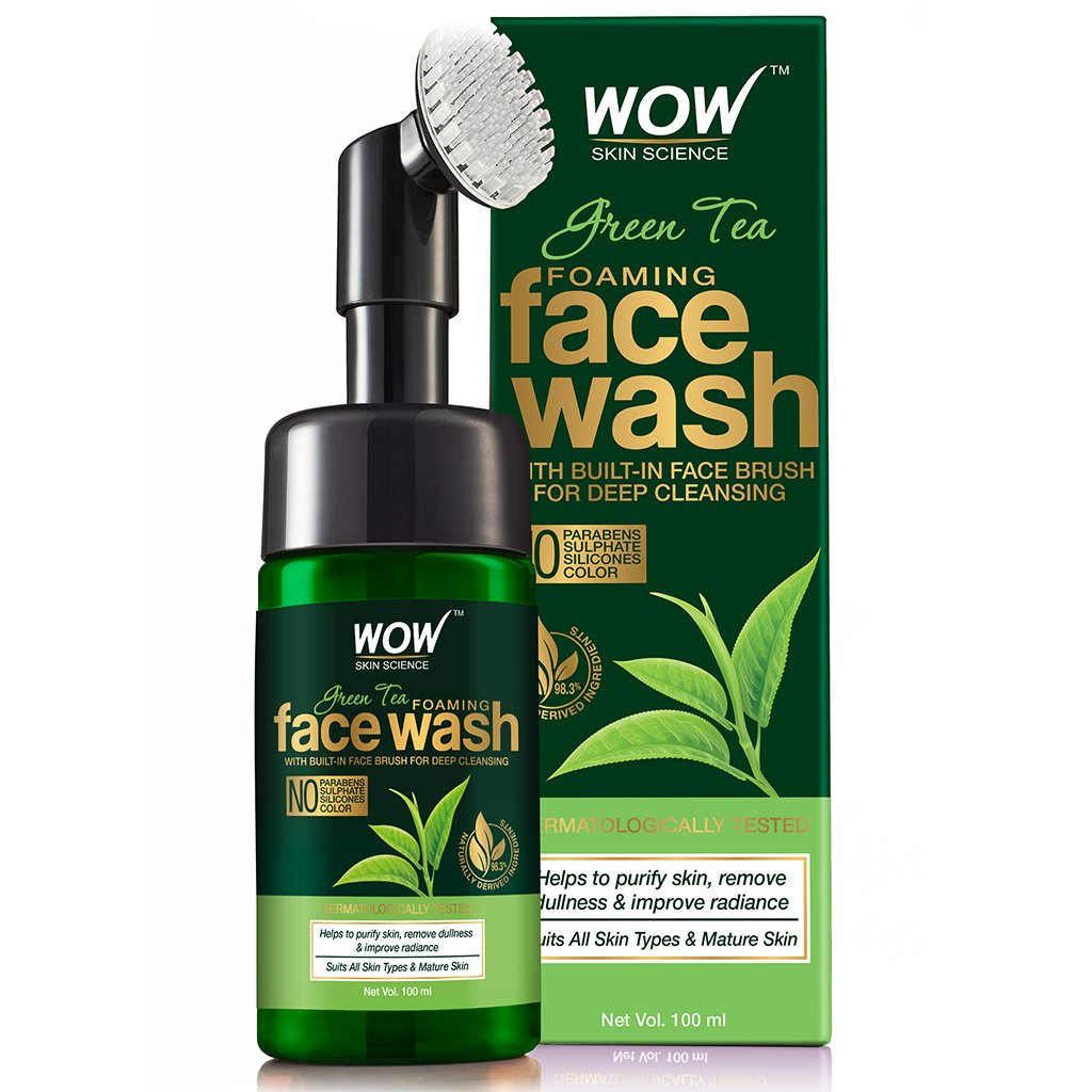 Wow Green Tea Foaming Face Wash with Built-In Face Brush, with Green Tea & Aloe Vera Extract