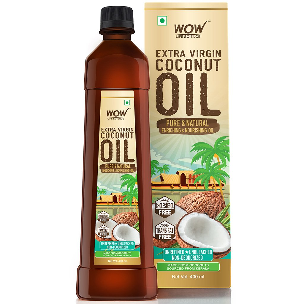Wow Cold Pressed Extra Virgin Coconut Oil, Pure & Natural Enriching & Nourishing Oil Bottle