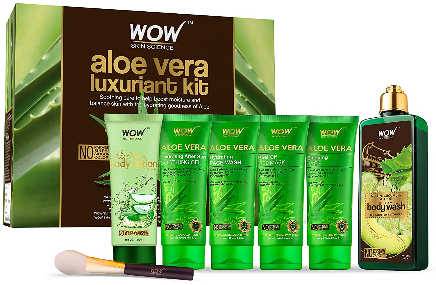 Wow Luxuriant Aloe Vera Kit - Aloe Vera Body Lotion, Soothing Gel, Face Wash, Peel off Mask, Sleeping Pack & Body Wash