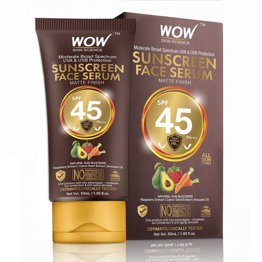 Wow Matte Finish Sunscreen Serum SPF 45 Pa++ with Raspberry, Carrot Seed & Avocado Oil
