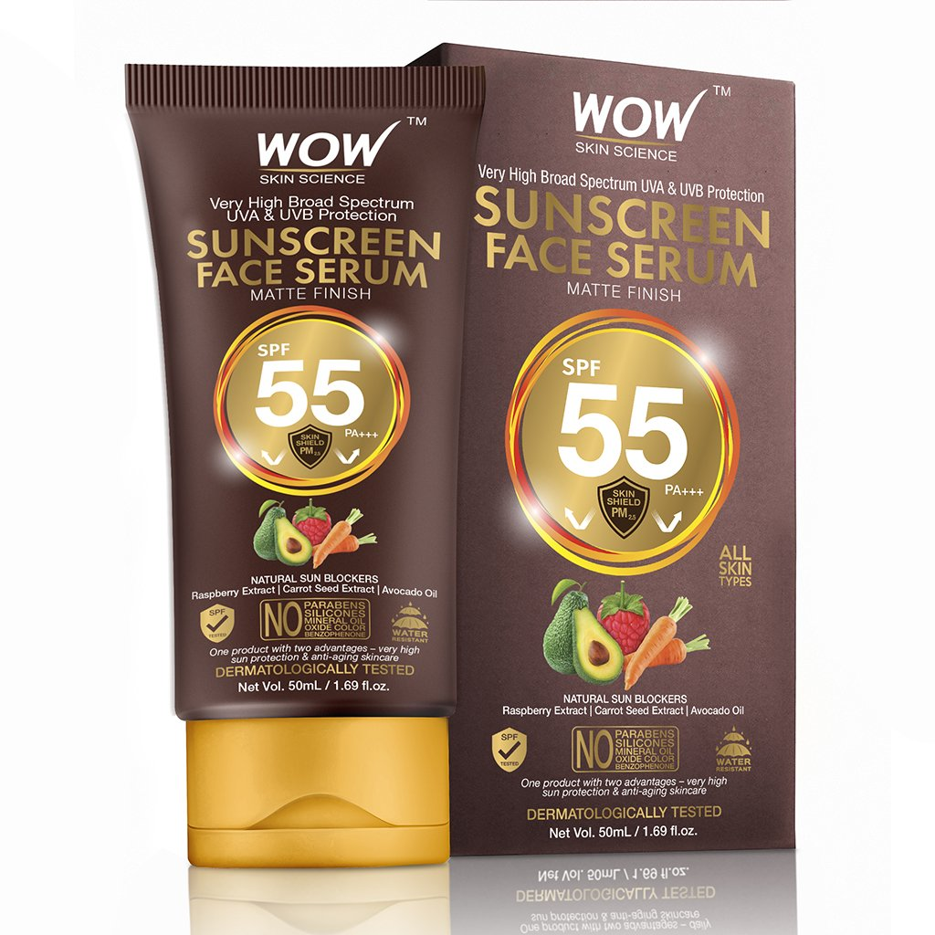 Wow Matte Finish Sunscreen Serum SPF 55 Pa++ with Raspberry, Carrot Seed & Avocado Oil