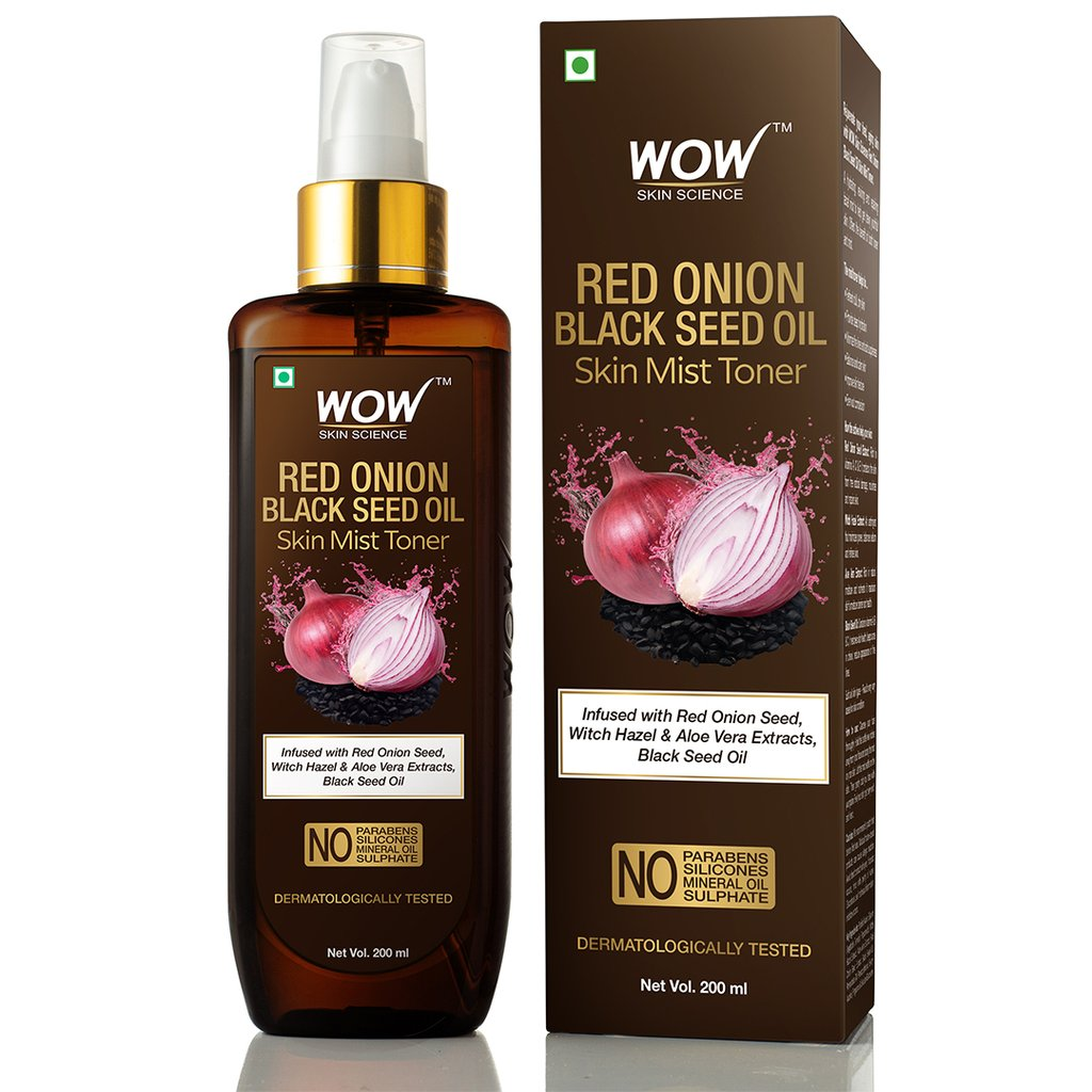 Wow Red Onion Skin Mist Toner with Red Onion Seed, Witch Hazel & Aloe Vera Extracts, Black Seed Oil
