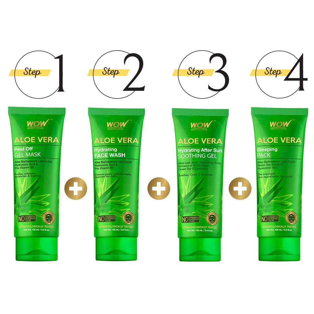 Wow Revitalizing Aloe Kit, Peel off Gel Mask + Face Wash + Soothing Gel + Sleeping Pack