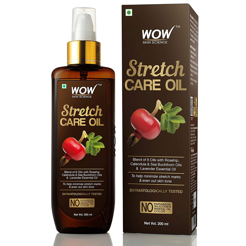 Wow Stretch Care Oil To Minimize Stretch Marks & Even Out Skin Tone, Blend of 6 Oils with Rosehip Calendula & Sea Buckthorn Oils