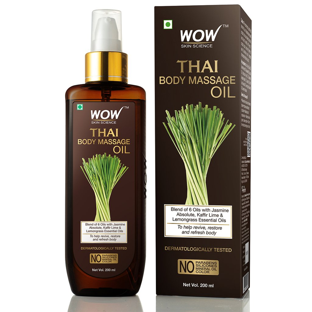 Wow Thai Body Massage Oil for Reviving & Refreshing -Infused with Blend of 6 Oils with Jasmine Absolute, Kaffir Lime & Lemongrass Essential