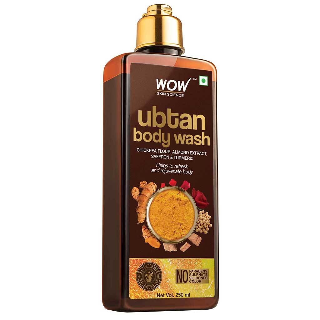 Wow Ubtan Body Wash with Chickpea Flour, Almond Extract, Saffron & Turmeric Extracts